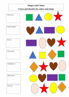 Interactive worksheet Shapes and colour