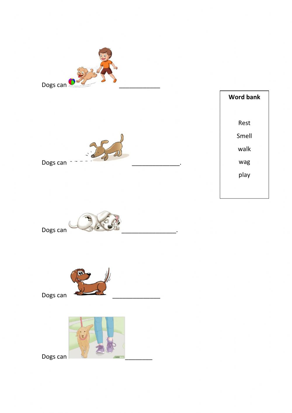 What can dogs do? worksheet
