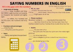 Interactive worksheet Saying numbers in English