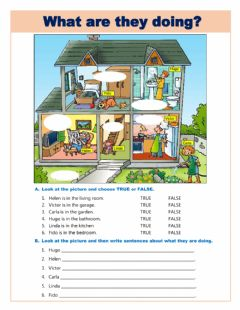 Interactive worksheet Parts of the house - What are they doing?