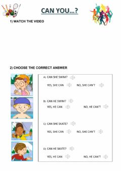 Interactive worksheet Can you play these sports?