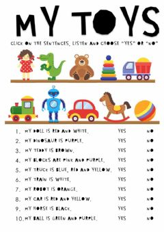 Interactive worksheet My toys