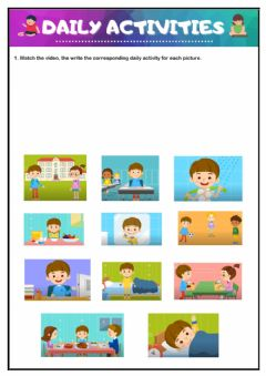 Interactive worksheet Daily activities