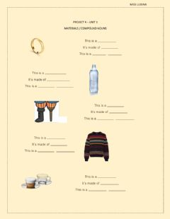 Interactive worksheet Project 4 - Unit 1 (Materials - Compound nouns)