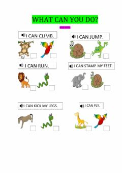 Interactive worksheet What can animals do?