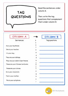 Interactive worksheet Tag questions - to be