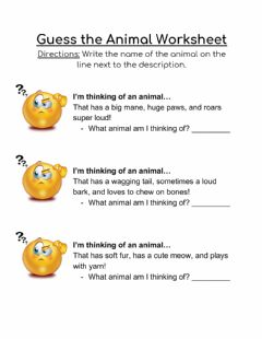 Interactive worksheet Guess the animal