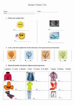 Interactive worksheet Spotlight 2 Module 5 Test