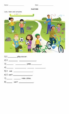 Interactive worksheet I can - can't