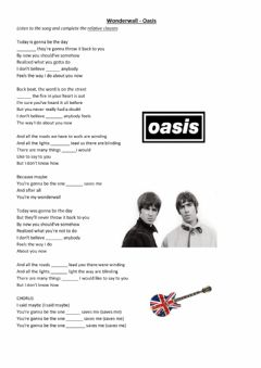 Ficha interactiva Wonderwall by Oasis - Relative clauses