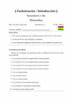 Interactive worksheet Factorización - introducción