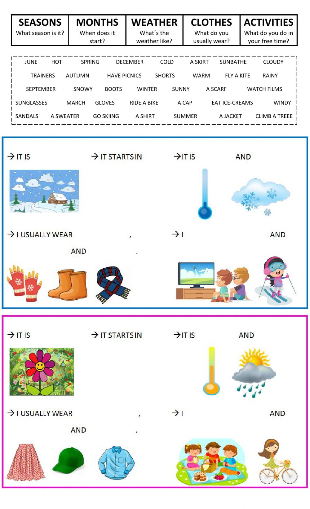 Seasons, Weather, Clothes, Months and Free-time activities worksheet