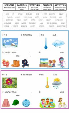 Ficha interactiva Seasons, Weather, Clothes, Months and Free-time activities
