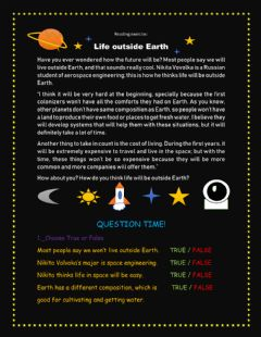 Interactive worksheet Reading Exercise:Life outside Earth