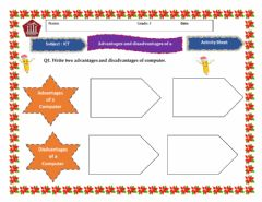 Interactive worksheet Advantages and Disadvantage of a Computer