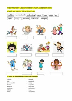 Interactive worksheet Describing people's personalities