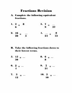 Interactive worksheet Fractions Revision