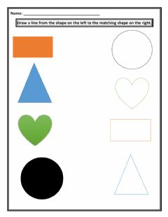 Interactive worksheet Matching Of Shapes