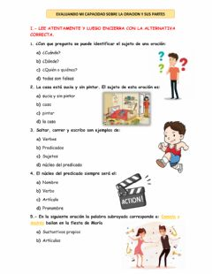 Interactive worksheet La oración y sus partes