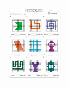 Interactive worksheet Area -Counting Squares Day 1 Level 1