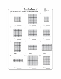 Interactive worksheet Area - Counting squares of a rectangle Day 3 Level 1