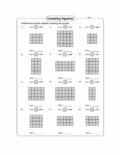 Interactive worksheet Area - Counting squares using a scale Day 3 Level 2
