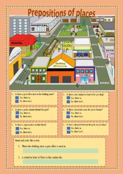 Interactive worksheet Places of the city