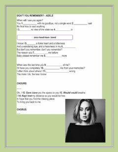 Interactive worksheet Don't you remember