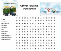 Interactive worksheet Winter holidays wordsearch