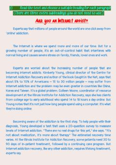 Interactive worksheet Are you an internet addict