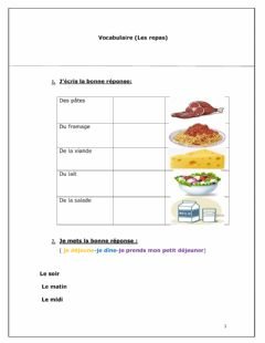 Interactive worksheet Vocabulaire (Les repas)