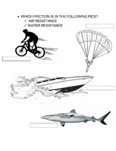 Interactive worksheet Air and Water Resistance