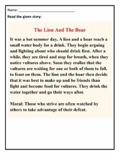 Ficha interactiva The lion and the Boar (Comprehension)