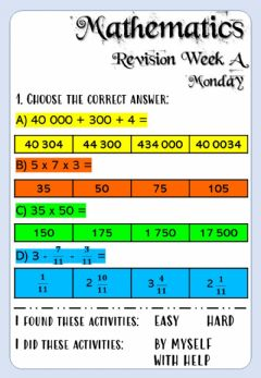 Interactive worksheet Revision Week A - Math 6 - Monday