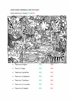 Interactive worksheet How many animals can you see?