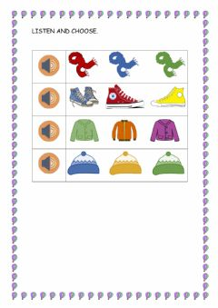 Interactive worksheet Winter clothes - Listen and choose
