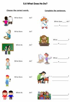 Interactive worksheet 5.6 What Does He Do?