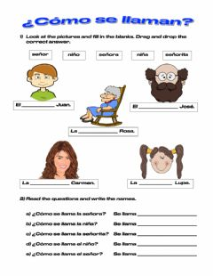 Interactive worksheet Los nombres