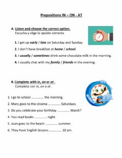 Interactive worksheet Prepositions of time in, on, at