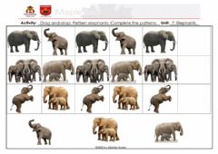 Ficha interactiva Drag and drop Pattern elephants Complete the Patterns