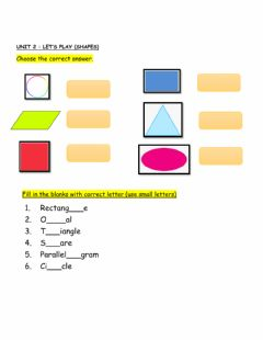 Ficha interactiva Unit 2: shapes -revision