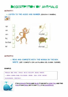 Interactive worksheet Animal and people description