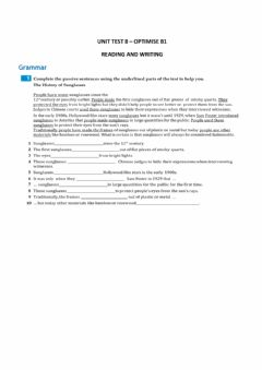 Interactive worksheet Reading and writing unit 8 b1