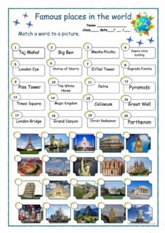Interactive worksheet Famous places