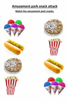 Ficha interactiva Amusement Park Snack matching 1
