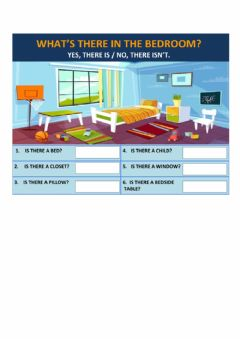Interactive worksheet What's there in the bedroom?