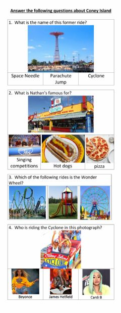 Ficha interactiva Coney Island quiz