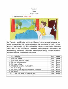 Interactive worksheet Kid's box 3 unit 5 reading activity