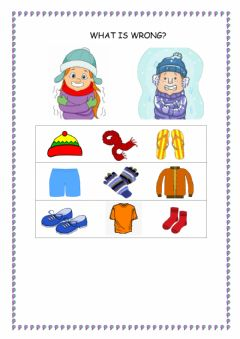 Ficha interactiva Winter clothes - Choose the odd one out