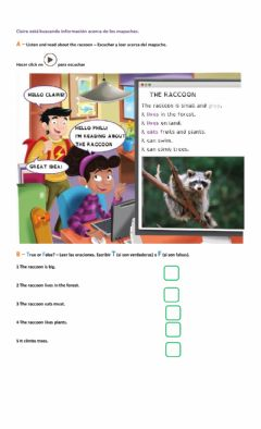 Interactive worksheet Listen and read about the raccoon